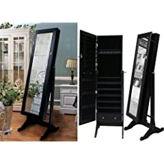 Black Tall Standing Mirror Jewelry Armoire