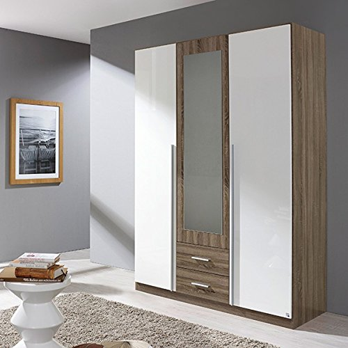 Kleiderschrank hochglanz grau / weiß 3 Türen B 136 cm Schrank Drehtürenschrank Wäscheschrank Spiegelschrank Kinderzimmer Jugendzimmer jetzt bestellen