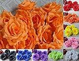 華やか な バラ 造花 花びら 花のみ 8cm 30コ 手作り パーティー お祝い 結婚式 二次会 イベント 装飾 等 に 選べるカラー オレンジ 黒 ピンク 赤 紫 黄色 青 白 星型夜光ステッカー セット (オレンジ)
