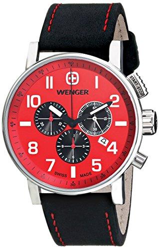 Wenger 011243103 Montre bracelet Homme, Cuir, couleur: noir