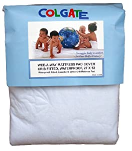 Colgate Wee-A-Way Waterproof Fitted Crib Mattress Cover, White