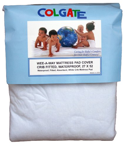 Colgate Wee-A-Way Waterproof Fitted Crib Mattress Cover, White front-962992