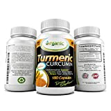 Turmeric Curcumin Capsules ● Anti-Inflammatory Diet Aid ● Helps Prevent Joint Pain & Arthritis (Rheumatoid & Psoriatic) ● Assists in Weight Loss & Detoxification ● Practice Ayurveda While Improving Memory & Promoting Heart Health with this Premium Quality All Natural Supplement ● 180 Vegan Safe Capsules