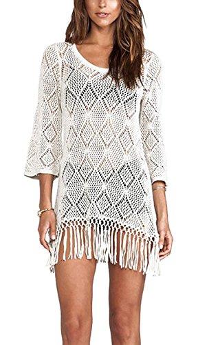 GalaC donne sexy uncinetto maglia frangia tunica beachwear cover-up offwhite Offwhite Taglia unica