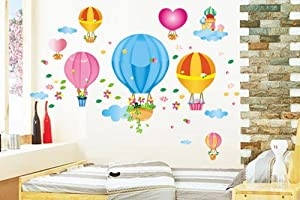 Design Colorful Hot-Air Balloon Love Shaped Castles and Flowers Nursery Wall Decals Stickers Mural by New Design