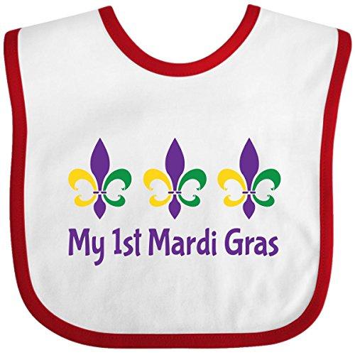 Inktastic Baby Boys' My 1St Mardi Gras Fleur De Lis Baby Bib One Size White/Red