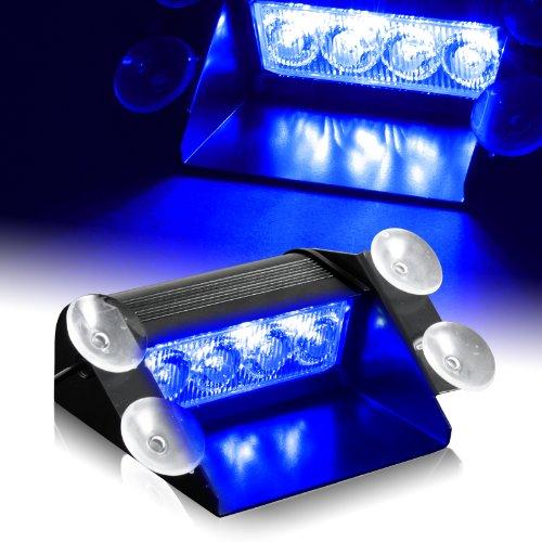 Blue Generation 3 Led Law Enforcement Use Strobe Lights For Interior Roof / Dash / Windshield