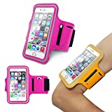 iPhone6 Sports Armband, Nancy's shop Easy Fitting Sports Universal Armband With Build In Screen Protect Case Cover Running band Stylish Reflective Walking Exercise Mount Sports Sports Rain-proof Universal Armband Case+ Key Holder Slot for Iphone 6 (4.7 Inch)(Rose Red)
