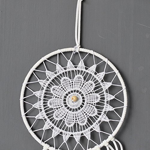 "Dremisland Dream catcher handmade traditional white feather dream catcher wall hanging car hanging decoration ornament gift (Dia 5.9"")"