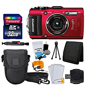 Olympus Stylus TOUGH TG-4 Digital Camera (Red) + Transcend 32GB Memory Card + Point & Shoot Camera Case + Card Reader + Floating Wrist Strap + Full Value Bundle - International Version (No Warranty)
