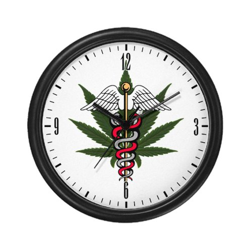 Wall Clock Medical Marijuana Symbol