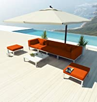 Hot Sale NEW Uduka Modern Outdoor Sectional Patio Furniture Dana C7 Orange All Weather Couch Sofa Set