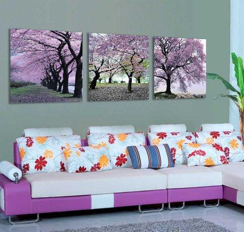 Mon Kunst albero Cherry Blossom-Stampa da parete su tela, arte, 3 pezzi, nero, 40cmx40cmx3 Framed