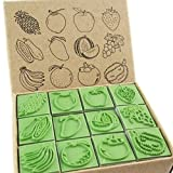 Np Crafts 12 Kids Apple Strawberry And Fruits Rubber Stamps Set
