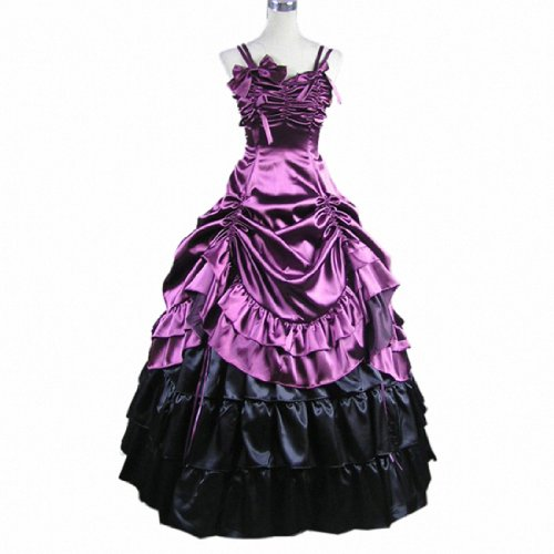 4Colors Sleeveless Satin Party Gown Gothic Victorian Ruffles Prom Lolita Dress Purple,Medium