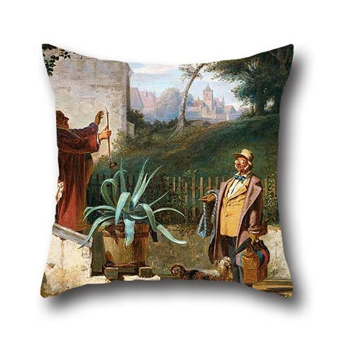 Throw Pillow Case Of Oil Painting Spitzweg, Carl - Childhood Friends 18 X 18 Inches / 45 By 45 Cm,best Fit For Bar Seat,office,play Room,teens Boys,floor,gf Each (Rage Rubber Wig)