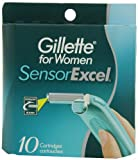 Gillette for Women SensorExcel Cartridges with Vitamin E & Aloe, 10-Count Boxes