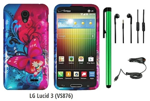 Lg Lucid 3 Vs876 (Us Carrier: Verizon) Premium Pretty Design Protector Cover Case + Car Charger + 3.5Mm Stereo Earphones + 1 Of New Assorted Color Metal Stylus Touch Screen Pen (Pink Butterfly Bliss Blue Swirl)