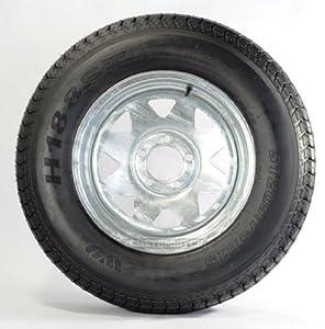 "Trailer Tire + Rim ST205/75D14 2057514 F78-14 14"" 5 Lug Wheel Spoke Galvanized"