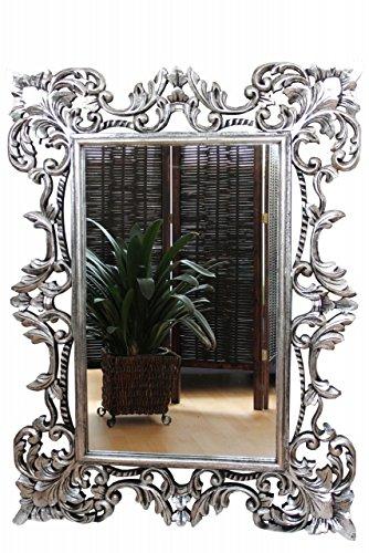 Eleganter Barockspiegel Wandspiegel Barock massiv Holz silber antik 120cm x 90cm