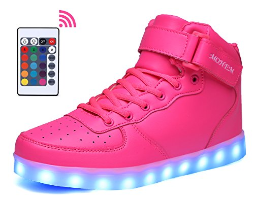 MOHEM ShinyNight High Top LED Shoes Light Up USB Charging Flashing Sneakers(1687003Pink38)