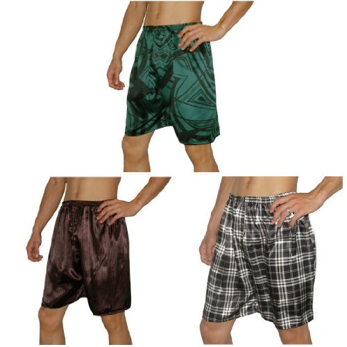 3 PACK: SILK COUTURE Mens Sleepwear - Silk Boxer Shorts / Pajama Lounge Shorts