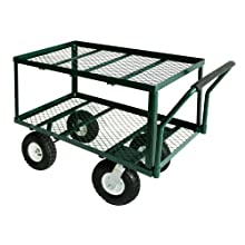 "Sandusky TW3820 Green Heavy Duty Steel 2-Deck Flat Wagon, 550 lb. Capacity, 33"" Height x 38"" Length x 20"" Width"