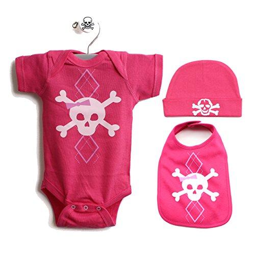 Pink Argyle Skull Baby 3 Piece Gift Set Size 18 Months