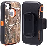 Huaxia Datacom Heavy Duty Defender Hybrid Hard Case with Holster and Belt Clip for iPhone 4/4S - Camouflage on Orange
