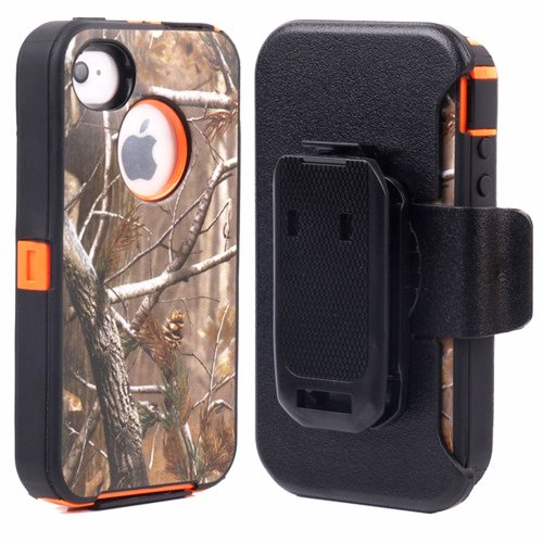 Huaxia Datacom Heavy Duty Defender Hybrid Hard Case with Holster and Belt Clip for iPhone 4/4S - Camouflage on Orange (Iphone 4s Case And Clip compare prices)