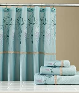 Amazon.com: Wisteria Blue/Aqua Floral Bathroom Shower Curtain Set ...