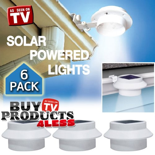 Images for 6 Pack Deal - Outdoor Solar Gutter LED Lights - White Sun Power Smart LED Solar Gutter Night Utility Security Light for Indoor Outdoor Permanent or Portable for Any House, Fence, Garden, Garage, Shed, Walkways, Stairs - Anywhere Safety Lite.