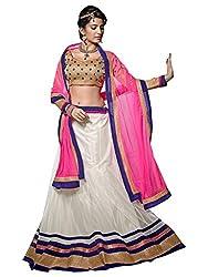 Livaaz Womens Net Lehenga Choli (Sf100439 _White::Brown _Free Size)