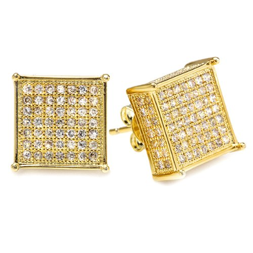 18K Yellow Gold Plated Clear CZ Cubic Zirconia Cube Shaped Hip Hop Iced Cube Stud Earrings 11.5 mm x11.5 mm )