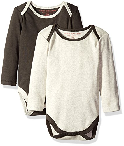 Burt's Bees Baby Organic Set of 2 Long Sleeve Lap Shoulder Bodysuits, Stone Heather, 18 Months