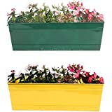 TrustBasket Set Of 2 - Rectangular Railing Planter - Green And Yellow (18 Inch)