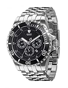 Detomaso San Marino- reloj hombre- automático- sumergible- 20 atm- plateado/negro- nuevo
