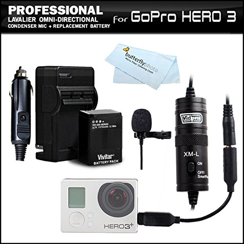 Professional Lavalier (Lapel) Omni-Directional Condenser Microphone - 20' Audio Cable Kit + Gopro 3.5Mm Mic Adapter + Replacement Battery And Rapid Travel Charger For Gopro Ahdbt-201, Ahdbt-301, Ahdbt-302 For Gopro Hd Hero3+, Hero3 Action Cam