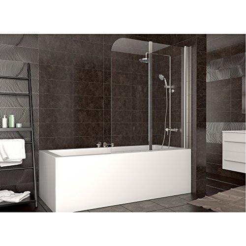 Duschabtrennung Badewanne Duschwand Badewannenfaltwand Glas Dusche DIN rechts