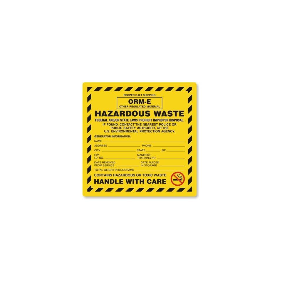 Hazardous Waste ORM E Label, 6 x 6