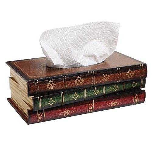 Antique Book Design Wood Bathroom Facial Tissue Dispenser Box Cover / Novelty Napkin Holder - MyGift® Antique Desk Accessories