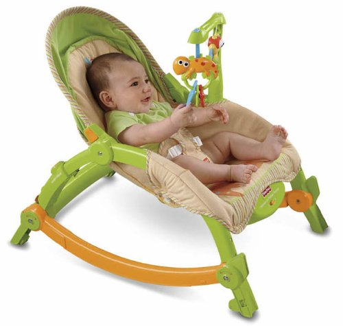 Fisher-Price-Newborn-To-Toddler-Portable-Rocker-Lizards-BabywippeSchaukelstuhl-aus-USA