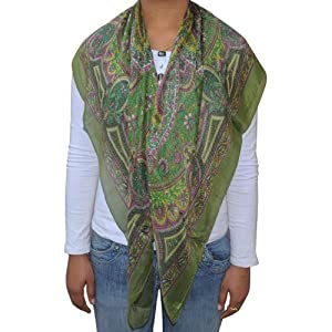 Printed Square Silk Scarves for Women Clothing Accessory from India 97  Square Scarves Women Uk