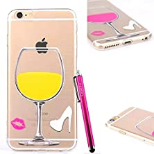 buy Iphone 5S Case, Jcmax Tpu Soft Cover [Ultra Thin] [Transparent] 3D Red Wine Cup Case Soft Flexible Protective Skin Case For Apple Iphone 5 5S 5G (Not For Iphone 5C) -Yellow