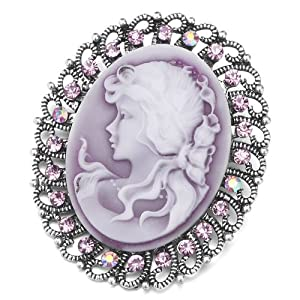 Pugster Vintage Antique Silver Tone Floral Oval Purple Beauty Cameo Border Light Amethyst Lady Maiden Profile Amethyst Purple Swarovski Crystal Diamond Accent Brooches Pins