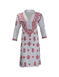 Lucknow Chikan Industry Women's Cotton Straight Kurti (White , 40 Inches)