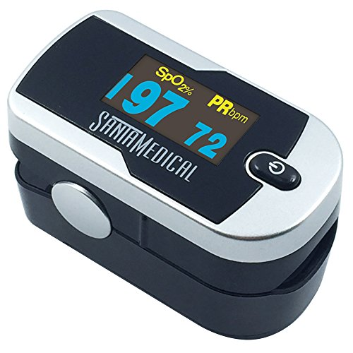 Santamedical Generation 2 OLED Fingertip Pulse Oximeter Oximetry Blood Oxygen Saturation Monitor with batteries and lanyard - Silver (O2 Bar compare prices)