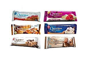 Quest Cravings Sampler Bundle, Peanut Butter & Jelly, Cinnamon Roll, Chocolate Chip Cookie Dough, White Chocolate Raspberry, Vanilla Almond Crunch, Double Chocolate Chunk, 12 Protein Bars