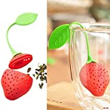 Silicone Strawberry Design Loose Tea Leaf Strainer Herbal Spice Infuser Filter Tools. (Pack of 3)