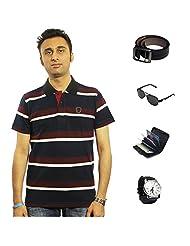 Garushi Multicolor T-Shirt With Watch Belt Sunglasses Cardholder - B00YMLMTLG